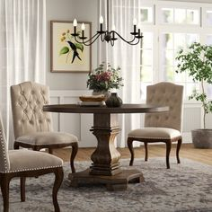 Kelly Clarkson Home Thorold Extendable Dining Table Counter Height Dining Table, Solid Wood Dining Table, Dining Nook, Dining Table In Kitchen, Round Dining Table, Kitchen Couches, Kitchen Island, Bar Counter, Dining