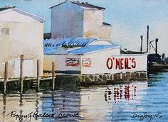 O'Neil's sketch by Poppy Balser, Plein Air Watercolor ~ 5 x 7 Sold Daily Painting #6 of 60