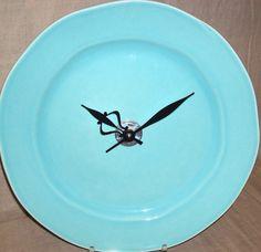 SILENT Robin Egg Blue Wall Clock, Ceramic Plate Wall Clock, Aqua Wall Clock, Turquoise Clock, Kitche