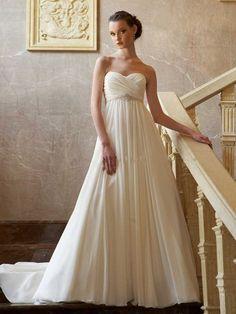 A-line/Princess Sweetheart Beading Chapel Train Chiffon Wedding Dresses