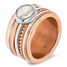 Rosé golden basering with sandstone fillring Summer Jewelry, Piercing, Stone, Bracelets, Silver, Rvs, Bling Bling, Fashion, Jewelery