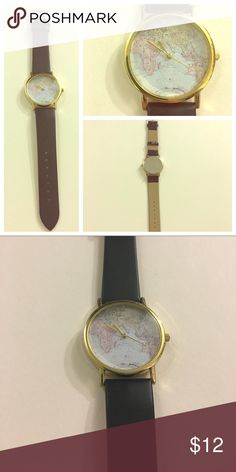 Black strap subtle tone world map watch Vegan black leather watch. Watch face features a subtle world map in pastel colors. Great gift for anyone that loves to travel! Accessories Watches