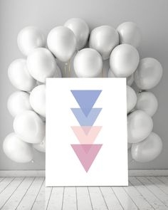 ## Rose Quartz and Serenity Triangle Wall Art, Triangle Printable, Pink and Blue Triangles, Scandinavian Art Print ##  This scandinavian art print is a contemporary downloadable printable featuring Rose Quartz and Serenity Triangles.  You are searching for the perfect decoration touch to any home or office ?