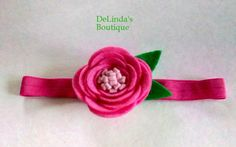 Pink Felt Flower Headband...... Perfect for a by DeLindasBoutique