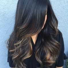 dark brown hair with ash brown balayage hairstyle