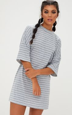 Grey Striped Oversized T Shirt DressIn a oversized comfy fit with a stripe design, style this wit...