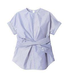 ストライプツイストトップス-4 Japan Fashion, Covet Fashion, Womens Fashion, Fashion Design, Blouse Styles, Blouse Designs, Batik Fashion, Shirt Blouses, Shirts