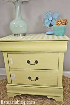 bright numbered nightstand with stripes