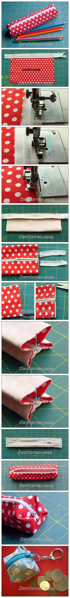 DIY pencil bag or cube coin bag with zipper! very cute! :D