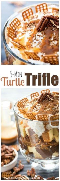 Turtle Pound Cake Trifle ~ Pound cake, pudding, pretzles, caramel, and more. So easy to make and yummy! Trifle Bowl Recipes, Trifle Desserts, Trifle Recipe, Easy Desserts, Delicious Desserts, Dessert Recipes, Sweet Desserts, Frozen Desserts, Pound Cake Trifle