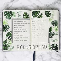 Bullet journal with green plants, designed by me. Insta: emmysdaydream
