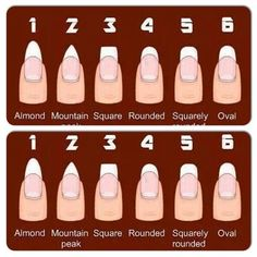 93cb9538aa76c Best nail shape chart I have seen! Current fave is almond but I ...
