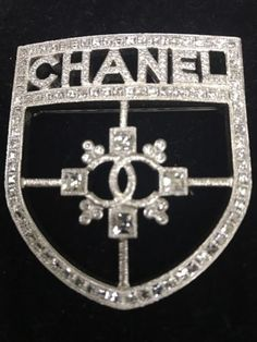 Chanel 2015 Rare Crest Shield Pendant Crystal Brooch