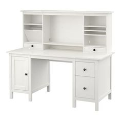 My year old desk is falling apart. IKEA - HEMNES, Desk with add-on unit, white stain, , Ikea Hemnes Desk, Ikea Desk, Hack Ikea, Decoration Ikea, White Stain, White Wood, My New Room, Storage Shelves, Mounted Shelves