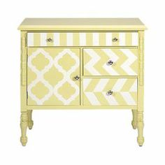 """An eye-catching addition to your sunroom or den, this yellow-finished chest offers stylish storage for your decor with its turned legs and patterned fronts.   Product: ChestConstruction Material: Fir, birch and engineered wood Color: YellowFeatures: Graphic printDimensions: 31"""" H x 32"""" W x 15"""" D"""