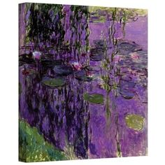 ArtWall 'Claude Monet's Lavender Water Lillies' Gallery Wrapped Canvas