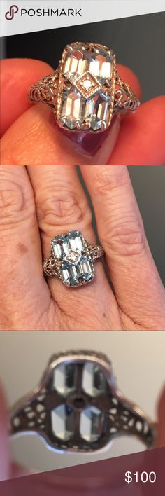 """Emerald Cut Topaz (4) Filigree Ring Estate Style STUNNING Topaz Ring! Size 6. Sterling Silver .925 Estate Style. Stamped """"vintage"""" and """"sterling."""" It is made to look like an estate ring. It's simply gorgeous! It has a center stone that is clear. Filigree design. Jewelry Rings"""