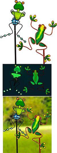 Glow in the dark frog garden stakes