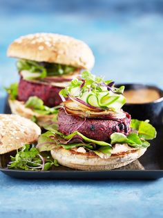 Who doesn't love a burger. Whether it is vego or meat filled….its a perfect fill me up. For those vego lovers, try this amazing beetroot, quinoa and black bean burger with garlic aioli, fresh cucumber and thin slices of pan fried sweet purple potato. Serve on the side with a chimi chimi sauce….and you wont go hungry. Created by Niki Barnes Styled by Stephanie Souvlis Photography www.andremartinphoto.com