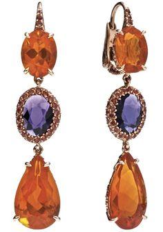 Orange and Violet Sapphire Ear Pendants by Pomellato