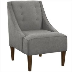 Skyline Furniture 77-1ESPLNNGR Swoop Arm Chair With Buttons In Linen, Grey, As Shown