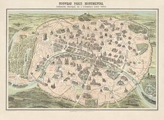 Antique Map of Paris, France from c1860