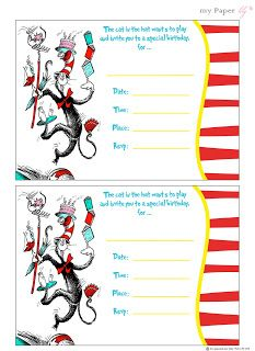 INSTANT DL Dr Seuss Thing Thing Photo Booth Props Dr Suess - Dr seuss birthday invitations templates