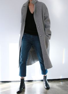 Casual Winter Wear   Long Gray Wool Coat, Black V-Neck Jumper, Slouchy Self-Cropped Denim With Frayed Edges, Black Ankle Boots   Death by Elocution