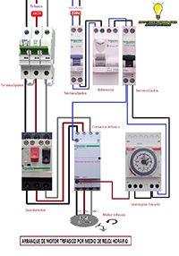 Esquemas eléctricos: Maniobra de arranque motor por interruptor horario...