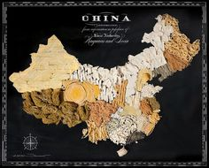 Here's a map of China rendered in noodles/ Fun and Beautiful Maps of the World Made From Signature Regional Foods