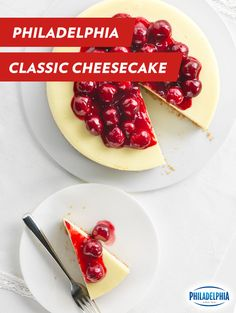 Celebrate the sweetness of summer with our classic Philadelphia Cheesecake. This creamy cheesecake delivers class and taste, while sweet cherries add color and fresh flavor. Host your own summer soirée with this timeless favorite.