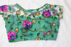 sea green with large floral thread work super net blouse