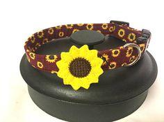 Dog collar red dog collar sunflower dog collar flower dog