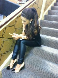 Ariana Grande in leather..and we <3 her shoes!! #StyleFashionWeek #ArianaGrande #CelebStyle