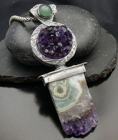 "Designs-by-Suzyn  |  ""Ice Princess"" necklace: Fine Silver & natural Amethyst."