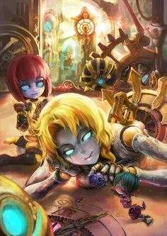 Commission : Clockwork Sisters by ptcrow.deviantart.com on @deviantART   :   Orianna and all her skins