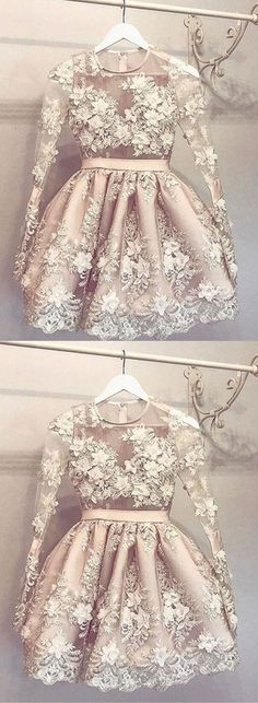 Sheer Jewel Neck Long Sleeve Homecoming Dress,Appliques Beading Short/Mini Prom Dress H246 Short Prom Dresses, Homecoming Dresses, Prom Gowns, Party Dresses, Graduation Dresses, Short Prom Dresses, Gowns Prom, Cheap Prom Gowns on Line