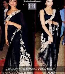 Buy Black Thread work net saree with blouse deepika-padukone-saree online