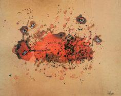 Carol Rama, Bricolage, 1967, occhi di vetro, china e guazzo su carta, Collezione privata, Torino, photo Tommaso Mattina