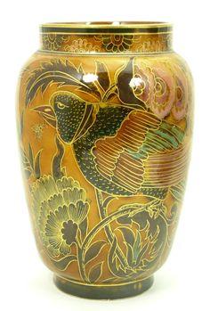 Antique Zsolnay Orientalist Rare Porcelain Vase with Peacock/Floral Design