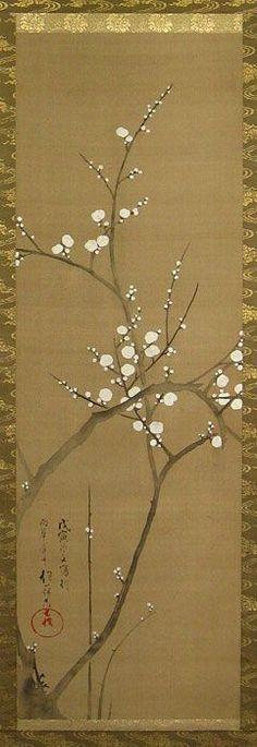 White Plum Blossom  白梅圖,             Sakai Hoitsu ( 酒井抱一, 1761-1828 )