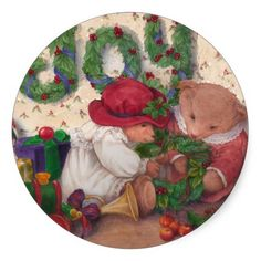 the circular format works very well with this pair of christmas teddy bear, HOLIDAY TEDDY BEAR STICKER
