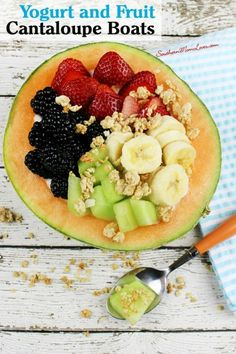 Yogurt and Fruit Cantaloupe Boats on Having Fun Saving and Cooking