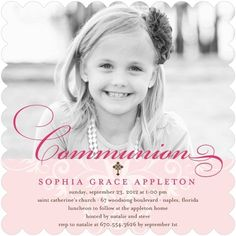 Memorable Moment - Communion Invitations - Hello Little One - Blush - Pink : Front