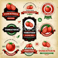 A collection of vintage styled tomato labels. EPS 10 file, layered & grouped, with meshes and transparencies . Label Design, Box Design, Packaging Design, Graphic Design, Jar Labels, Food Labels, Homemade Stickers, Etiquette Vintage, Fruit Packaging