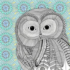 Owl in black and white - An illustration by Hannah Davies Thomas Sabo, Coloring Books, Coloring Pages, Colouring, Hannah Design, Illustrator, Owl Artwork, Thing 1, Owl Print