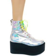 UNIF Gammaray Boot (£105) ❤ liked on Polyvore featuring shoes, boots, holographic, holographic shoes, unif shoes, hologram boots, hologram platform shoes and platform boots