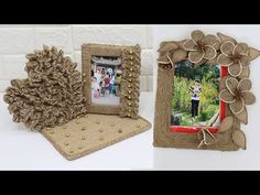 5 Jute photo frame craft idea | Home decorating ideas handmade - YouTube Diy Crafts Hacks, Easy Crafts, Sisal, Photo Frame Crafts, Jute Crafts, Diy Frame, Flower Crafts, Diy Paper, Handicraft