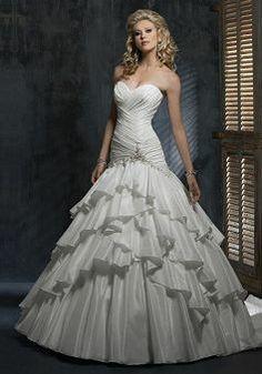 Ball Gown Sleeveless Sweetheart With Ruffles Floor Length Taffeta Wedding Dress - Angeldress.co.uk