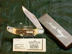 Schrade 124UH Stag Appearance Trapper C-1980's Uncle Henry W/Original Packaging @ ditwtexas.webstoreplace.com